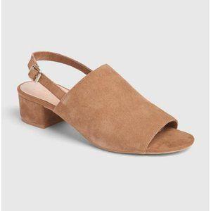 NWT Gap Camel Leather Open Toe Slingback Sandals 9